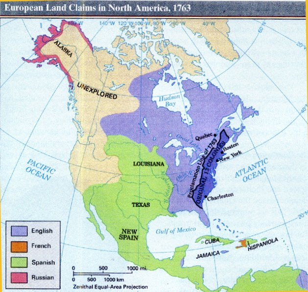 European Land Claims in North America Map